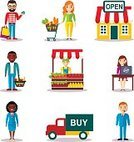 Women,Label,Coin,Supermarket,People,Men,Credit Card,Paying,Marketing,Business,Sales Occupation,Sign,Fashion,Retail,Internet,Bag,Currency,Internet Marketing,Illustration,Symbol,Vector,Store