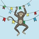 Activity,Motion,Happiness,Joy,Symbol,Creativity,Flag,Design,Animal,Animal Body Part,Smiling,Party - Social Event,Primate,Blue,Brown,Multi Colored,Chimpanzee,Backgrounds,Fun,Animal Hand,Zoo,Cute,Illustration,Cartoon,Sketch,Vector,Holiday - Event,Background,60013