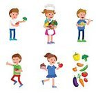People,Dieting,Fruit,Dinner,Day,Vegetable,Small,Sign,Organic,Cook Food,Carrot,Vegetarian Food,Broccoli,Healthy Eating,Preschool Building,Backgrounds,Salad,fresh vegetable,Freshness,Eating Breakfast,Cooking,Tomato,Eco Food,Fun,cute child,Childhood,Illustration,girl boy,Vector,happy child