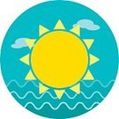 Cut Out,Heat - Temperature,Sun,Happiness,Symbol,Sign,Shiny,Environment,Sun,Springtime,Summer,Wave,Sunrise - Dawn,Sunset,Sea,Beach,Computer Icon,Weather,Illustration,Vector