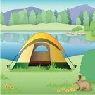 Camping,Tent,Non-Urban Scene,Lake,Mountain,Pond,Rural Scene,Ilustration,Vector,Park - Man Made Space,Summer,Rabbit - Animal,Outdoors,Recreational Pursuit,Vacations,Leisure Activity,Illustrations And Vector Art,Nature,Clip Art,Sports And Fitness,Relaxation,Color Image,Tranquil Scene,Square