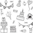 Decoration,Backgrounds,Cake,Hat,Wrapping Paper,Decor,Computer Graphic,Surprise,Gift,Doodle,Vector,Illustration,Drawing - Activity,Celebration,Fun,Birthday