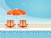 Swimming Pool,Poolside,Summer,Deck Chair,Outdoor Chair,Beach Umbrella,Hotel,Lounge Chair,Cartoon,Vector,Water,Tourist Resort,Vacations,Ilustration,No People,Relaxation,Summer Resort,Seagull,Outdoors,Copy Space,Solitude