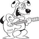Humor,Line Art,Music,Animal,Guitar,Canine,Cartoon,Cheerful,Mammal,Coloring,String Instrument,Illustration,Musical Instrument,Outline,Performer,Happiness,Dog,Clip Art,Playing,Playful,Guitarist,Arts Culture and Entertainment,Musician,Fun,Vector,Occupation,Singing