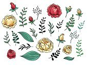 Summer,Floral Pattern,Rose - Flower,Decoration,Springtime,Old-fashioned,Pattern,Day,Vector,Leaf,Blossom,Boho,Beauty In Nature,Painted Image,Illustration,Computer Graphic,Color Image,Wedding,Part Of,Plant,Design Element,Design,Decor,Nature,Flower,Ornate,Style,Victorian Style,Set,Romance,Love,Single Object,Anniversary