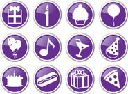 Symbol,Party - Social Event,Birthday,Icon Set,Cake,Food,Celebration,Gift,Balloon,Carnival,Birthdays,Vector Icons,Holidays And Celebrations,Event,Purple,Illustrations And Vector Art