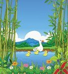 Flower,Cartoon,Design Professional,Bamboo - Plant,Duck,Illustration,Family,Single Flower,Animated Cartoon,Sea Duck,Design