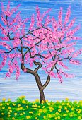 Vertical,Creativity,No People,Flower,Art And Craft,Plant,Painted Image,Peach,Illustration,Nature,Botany,Peach,Acrylic Painting,Paintings,Blossom,Tree,Springtime,Fine Art Painting,Pink Color