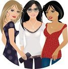 Women,Friendship,Group Of People,Three People,Vector,Fashion,African Descent,Talking,Ilustration,People,Dress,Only Women,Jeans,Casual Clothing,Sunglasses,Lace - Textile,Pattern,Cherry,Daisy,Relationships,Cherry Coloured,People,Lifestyle,Caucasian Ethnicity,Illustrations And Vector Art