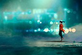Watercolor Painting,Street,Road,Men,Night,Walking,Painted Image,Defocused,One Person,Art And Craft,Copy Space,Oil Painting,Blue,Illustration,Light - Natural Phenomenon,Blurred Motion,Backgrounds,Red,Landscape,Art,Mist,Fog,Creativity,Acrylic Painting