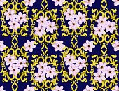 Horizontal,No People,Cherry Blossom,Flower,Painted Image,Cherry,Ornate,Illustration,Seamless Pattern,Decoration,Backgrounds,Blossom,Pattern,Pink Color