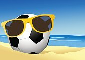Sport,Backgrounds,Vacations,Nature,Tropical Climate,Travel,Non-Urban Scene,Water,Vector,Sunny,Leisure Games,Heat - Temperature,Sea,Sky,Wave,Play,Horizon,Ideas,Illustration,Ball,Summer,Soccer Ball,Blue,Soccer,Sand,Beach