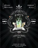 Mojito,Backgrounds,Holiday,Vector,Illustration,Cocktail,Banner,Nightlife,Spray,Frame,Freshness,Ornate,Dusk,template,Party - Social Event,Alcohol,Fun,Alcohol,Summer,Drink,Typescript,Night,Splashing,Celebration,Entertainment,Placard,Black And White
