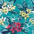 No People,Floral,Nature,Plant,Flower,Leaf,Summer,Backgrounds,Frangipani,Blossom,Illustration,Vector,Seamless Pattern,Yellow,Pattern,Floral Pattern