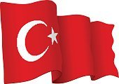 Turkey - Middle East,Country - Geographic Area,No People,Three Dimensional,Symbol,Flag,Rippled,Wind,Day,Islam,Turkish Culture,Patriotism,Illustration,Vector,Government,Religious Symbol,Crescent,Politics and Government,Waving,Textile