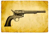 Image Created 19th Century,Handgun,Wild West,Gun,Weapon,sixshooter,19th Century Style,Grunge,Ilustration,Victorian Style,US Military,Objects/Equipment,Illustrations And Vector Art,Image Created 1880-1889,Military