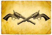 Gun,Handgun,Crossing,Wild West,Old,Old-fashioned,Ilustration,Grunge,Image Created 19th Century,Obsolete,19th Century Style,Weapon,sixshooter,Military,Victorian Style,Image Created 1880-1889,Illustrations And Vector Art,US Military