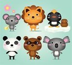 Panda,Bear,Cartoon,Cute,Koala,Lion - Feline,Animal,Young Animal,Raccoon,Mouse,Penguin,Child,Symbol,Characters,Flower,Rat,Set,Toy,Smiling,Religious Icon,Ice,Friendship,Cheese,Smiley Face,Fun,Group Of Animals,Happiness,Cheerful,Mammals,Baby Animals,Vector Cartoons,Animals And Pets,Illustrations And Vector Art