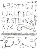 Alphabet,Doodle,Scribble,Text,Sketch,Drawing - Art Product,Arrow Symbol,Squiggle,Corner,Angle,Ilustration,Design Element,Black Color,White,Concepts And Ideas,hand lettered,Spiral,graphic element,hand drawn