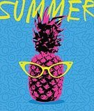 Hipster,Pineapple,Eyeglasses,Vector,Colors,Backgrounds,Fruit,Summer,Pop Art,Art,Fashionable,1980s Style,Vacations,Illustration,Retro Styled,Print,Vibrant Color,Textile,Backdrop,Fashion,Blue,Fun,High Contrast,Yellow,Pink Color,Beach