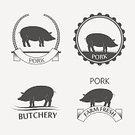 Butchery,Freshness,No People,Steak,Pork,Agriculture,Farm,Sign,Meal,Animal,Rural Scene,Ham,Illustration,Nature,Restaurant,Symbol,Business Finance and Industry,Food,Organic,Insignia,Business,Butcher's Shop,Vector,Piglet,Pig,Meat,Label,Badge