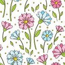 No People,Flower,Computer Graphics,Daisy,Cute,Ornate,Summer,Illustration,Nature,Computer Graphic,Seamless Pattern,Decoration,Season,Backgrounds,Blossom,Bouquet,Vector,Springtime,Design,Pattern,Floral Pattern