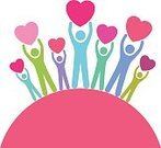 Women,Men,Concepts,Vector,Large Group Of People,Pink Color,Blue,Love,Giving,Heart Shape,Circle,People