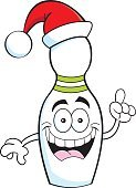 Humor,Direction,Activity,Happiness,Sport,Cheerful,Recreational Pursuit,Christmas,Healthy Lifestyle,Fun,Illustration,Cartoon,Leisure Activity,Vector,Bowling Pin,Holiday - Event,Cap,Hat,Cap,Smiling,Santa Hat