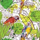 Nature,Animal,Illustration,Decoration,Repetition,Abstract,Tropical Bird,Bird,Watercolor Paints,Spray,hand drawn,White,Animals In The Wild,Sketch,Backgrounds,Cockatoo,Black Color,Black And White,Painted Image,Green Color,Summer,Watercolor Painting,Zoo,Parrot,Tropical Rainforest,Seamless,Pattern,Vector,Tree,Leaf