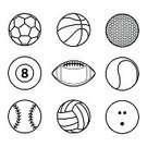Tennis,American Football - Ball,Ball,Sport,Vector,Bowling,Baseball - Ball,Computer Graphic,Golf,Computer Graphics,Symbol,Illustration,Soccer,Collection,Basketball - Ball,Soccer Ball,Circle,Volleyball - Ball,Competitive Sport,Black Color