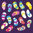 103626,Personal Accessory,Ornate,Shoe,Collection,Multi Colored,Summer,Illustration,Rubber,Rubber,Travel,Vacations,Flip-flop,Sandal,Fun,Vector,