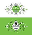 Web Marketing,Viral Marketing,Banner Set,No People,Straight,E-Mail,Outline,Illustration,Vector,Single Line,Social Networking,White Background,Colored Background,Green Background