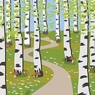 Tranquil Scene,Cartoon,Vector,Painted Image,Forest,Green Color,Birch Tree,Grass,Backgrounds,Summer,Stem,Leisure Activity,Park - Man Made Space,Harmony,Freshness,Illustration,Rural Scene,Outdoors,Meadow,Flower,White,Edible Mushroom,Bright,Tree,Springtime,Grove,Nature,Leaf,Landscape,Purity,Plant,Season,Beauty,Tree Trunk,Air,Woodland,Sun