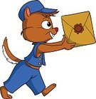 Humor,Illustration,Blue,Characters,Mammal,Fur,Smiling,Softness,Messenger,Cap,Box - Container,Cheerful,Beautiful,Tail,Small,Rodent,Cartoon,Delivering,Uniform,Walking,Young Animal,Vector,Fun,White,Isolated,Animal,Chipmunk,Cute