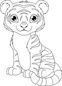 Cartoon,White Background,Remote,Clip Art,Vector,Cub,Animal,Undomesticated Cat,Carnivore,Sitting,Tiger