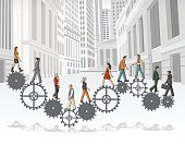 Gear,Men,Togetherness,Connect,Manager,Businessman,Machine Gear,Business,Engine,Businesswoman,template,Downtown District,Street,Spinning,Machine Part,Machinery,Town,People,Turning