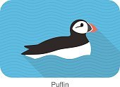 Animals In The Wild,Nature,Beak,Wildlife,Flat,Cartoon,Side View,Simplicity,Animal Themes,Swimming Animal,Multi Colored,Puffin,Animal,Illustrator,No People,Animal Head,Illustration,Vector,Symbol,Sea Bird,Bird,Isolated