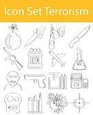 Drawing - Activity,Bomb,Illustration,Vector,Terrorism,Icon Set,Scribble