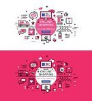 Outline,Single Line,Straight,Banner Set,Heading the Ball,Illustration,Web Banners,List,Pink Background,Buying,Traffic,Trading,Vector,Shopping,Stock Market,Business,Selling,Arrow Symbol,White Background,Computer,Mobile Phone,Technology,Delivering,Internet Business,Shopping Cart,Shopping Bag,E-commerce