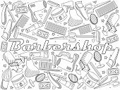 Equipment,Razor,Hair Dryer,Symbol,Design,Hairdresser,Barber,Hair Salon,Coloring Book,Illustration,Barber Shop,Vector,Fashion,Collection,Straight Edge Razor,Arts Culture and Entertainment,Clothing,Personal Accessory,Mustache,Wig