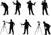 Photographer,Photography,Silhouette,Camera - Photographic Equipment,Photograph,Camera Operator,Tripod,Vector,Lens - Optical Instrument,People,Film Industry,Manual Worker,Men,Posing,Occupation,Filming,Operator,Illustrations And Vector Art