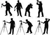Photographer,Silhouette,Camera - Photographic Equipment,Photography,Photograph,Camera Operator,Tripod,Manual Worker,Vector,People,Film Industry,Occupation,Men,Photography Themes,Lens - Optical Instrument,Filming,Posing,Operator,Illustrations And Vector Art