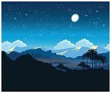 Illustration,Summer,Mountain,Outdoors,Beauty In Nature,Green Color,Mountain Range,Forest,Moon,Hill,Star - Space,Tranquil Scene,Bird,Billboard Posting,Asia,Cultures,Bush,Leaf,Multi Colored,Tree,Palm Tree,Backgrounds,Vector,Light - Natural Phenomenon,Rainforest,Tropical Climate,Adventure,Nature,Landscape,Environment,Tropical Rainforest,Park - Man Made Space,Recreational Pursuit,Retro Styled,People Traveling,Travel,Wildlife,Lush Foliage,Night,Woodland