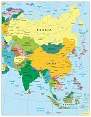 Map,China - East Asia,Illustration,Backgrounds,continent,Asia,Image,Japan,Land,Computer Graphic,Science,Iran,Flag,Island,republic,Uzbekistan,International Border,Cyprus,Kazakhstan,Territorial,region,Learning,Singapore,Korea,Vector,Russia,National Landmark,India