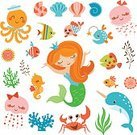 Mermaid,Cute,Isolated,Isolated On White,Collection,Set,Design Element,Animal,Sea Horse,Coral,Characters,Narwhal,Octopus,Jellyfish,Vector,Wildlife,Childishness,Cartoon,Illustration,Fish,Undersea,Seaweed,Shell,Underwater,Nature,Sea,Crab,Summer