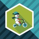 Humor,Cute,Christmas,Illustration,Bicycle,Snowman,Winter,Decoration,Season,Snow,Fun,Decor,Vector,Hat