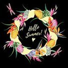 Summer,Hello,typographic,Greeting,Creativity,Design,Typescript,Poster,Isolated,Exoticism,Bird Of Paradise - Plant,Retro Styled,Tropical Climate,Black Color,template,Travel,Painted Image,Dragonfly,Bromeliad,Yellow,Print,Holiday,Flower,Postcard,Illustration,Vector,Greeting Card,Party - Social Event,Alphabet,Vacations