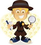 Detective,Child,Mystery,Magnifying Glass,Question Mark,Solution,Little Boys,Forensic Science,Playing,Costume,Badge,Play,Problems,Lifestyle,Babies And Children,Vector Cartoons,Illustrations And Vector Art,Cheerful,Playful,Fun,Happiness