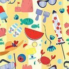 Beach,Summer,Computer Graphic,Hat,Holiday,Vacations,Backgrounds,Tourist,Horizontal,Illustration,Vector,Parasol,Cartoon,No People,Tourism,repeating pattern,Watermelon,Sandcastle,Shell,Ice Cream,Sandal,Flip-flop,Sunglasses