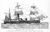 Nautical Vessel,Engraved Image,Military Ship,Old,Steamboat,Navy,Old-fashioned,Victorian Style,Rigging,Obsolete,British Culture,Historical Ship,Ironclad,History,Battleship,War,UK,Warship,19th Century Style,Sail,British Military,Mast,Military,Royal Navy,Turret,flagship,Ship Funnel,Gun,Image Created 19th Century,Weapon